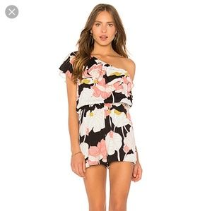 Cupcakes and cashmere floral one shoulder romper